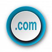com blue modern web icon on white background