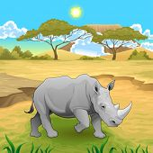 African landscape with rhinoceros. Vector illustration.