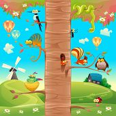 Funny animals on branches. Cartoon and vector scene, isolated objects.