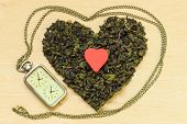 Green Tea Leaves Heart Shaped And Watch