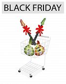 Electric Guitar With Red Ribbon In Black Friday Shopping Cart