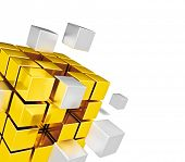 Business teamwork internet communication concept  - metal cubes assembling into gold cubic structure isolated on white close up with copy space