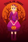Vector halloween greeting card with illustration of a cute girl in cartoon style
