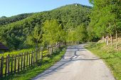 wooden fence along rural road in Serbia