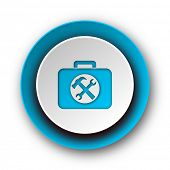 toolkit blue modern web icon on white background
