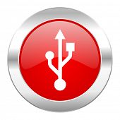 usb red circle chrome web icon isolated