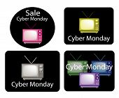 Set of Retro Television with Cyber Monday News