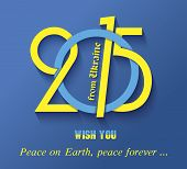 New Year 2015 Creative Greeting Card Design In Ukrainian Flag Color ( From Ukraine)
