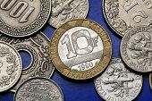 Coins of France. Old 10 French franc coin.