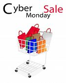 Shopping Bags in Cyber Monday Shopping Cart