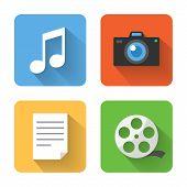 Flat Multimedia Icons. Vector Illustration