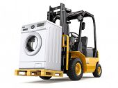 Appliance delivery concept. Forklift truck and washing machine. 3d