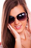 Beautiful brunette with sunglasses