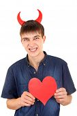 Teenager With Devil Horns And Heart