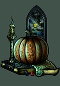 Halloween Emblem With A Pumpkin A Candle A Book And A Window