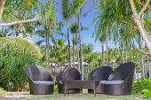 chill out on tropical beach, outdoor cafe, chairs on beach