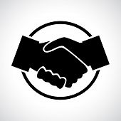 Handshake. Black flat icon in a circle.