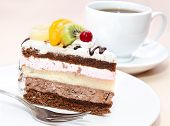 Piece Of Chocolate Cake With Fruit