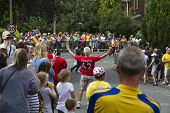 Greetland, England, Jul 06:  Crowd Of People Wainting For The Cyclists On Hullen Edge Lane During Th