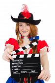 Woman pirate with movie board