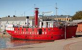 Helsinki, Finland - September 13, 2014: Historic Red Relandersgrund Lightship. The Decommissioned Fl
