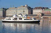 White Passenger Ferry Enters The Main Port Of Helsinki