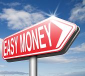 fast easy money quick extra cash make a fortune online income road sign