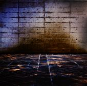 Grungy concrete and stone room with mysteriously illuminated stone floor.