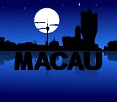 Macau skyline reflected with text and moon illustration
