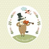 Badger plays the violin, vector illustration