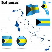 Bahamas set. Detailed country shape with region borders, flags and icons isolated on white background.