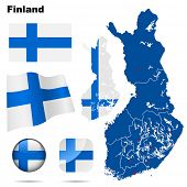 Finland set. Detailed country shape with region borders, flags and icons isolated on white background.