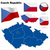 Czech Republic set. Detailed country shape with region borders, flags and icons isolated on white background.