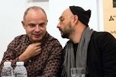 MOSCOW - OCTOBER, 1: R. Dolzhansky, K. Serebrennikov. Press Conference of International Festival-Sch