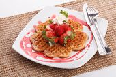 Waffle Topping With Strawberry And Decoration