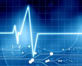 stock photo of blue-screen-of-death  - heart beat on display on a blue background - JPG