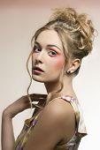 Female With Stylish Colorful Make-up