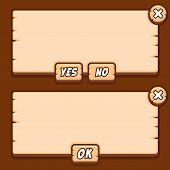 Game wooden menu interface panels buttons