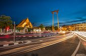 The Giant Swing and Suthat Temple at Twilight Time, Bangkok, Thailand