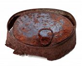 Old Rusty Tin Can Isolated On White Background