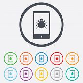 Smartphone virus sign icon. Software bug symbol.