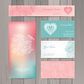 stock photo of marriage decoration  - Set of business card and invitation card template - JPG