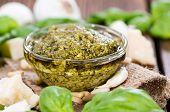 Pesto Sauce In A Small Bowl