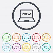 Webinar laptop sign icon. Notebook Web study.