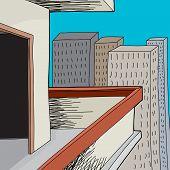 Open Door In Urban Balcony
