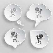 Ethnic little man as shaman. White flat vector buttons on gray background.