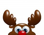 Christmas Cartoon Reindeer Isolated Over White Background