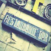 Sign of deserted restaurant. Retro style image
