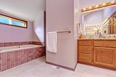 picture of bath tub  - Bathroom interior in light pink tone with tile trim bath tub and bathroom vanity cabinet with granite top - JPG