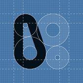 Round engineering font. Symbol 0
